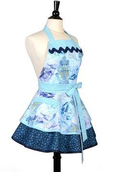 Ruffled Retro Apron Blue Flower Burst Kitchen Apron Womens Ruffle Apron, Retro Apron, Apron Pockets, Layered Skirt, Custom Embroidery, Blue Flowers, Pin Up, Summer Dresses, Pretty
