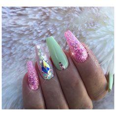 "2,665 Likes, 13 Comments - Margarita (@margaritasnailz) on Instagram: "" ———————————————————–—————— @vetro_usa pastel green134, &# 270✨pink glitter mix #nails…"""