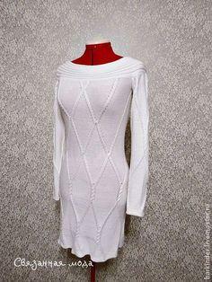 """Вязаное платье """"Белые араны"""" - белый,однотонный,платье с косами,платье"""