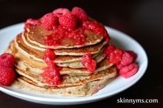 Buckwheat Pancakes with Berry Sauce! Stuffed with whole grains, these pancakes are a delicious way to start the day! #skinnyms #cleaneating #buckwheat #pancakes #breakfast #recipes