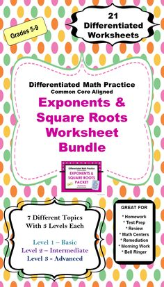 There are 21 Differentiated Exponents  Square Roots Worksheets in this Exponents  Square Roots Worksheet Bundle. The bundle has 7 Topics with 3 Differentiated Worksheets for each of topics.  With 3 different levels, you can differentiate by student or by class.