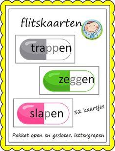 Open en gesloten lettergrepen – Weg van onderwijs Spelling For Kids, School Items, Classroom Language, Creative Teaching, School Hacks, Primary School, Kids Education, Fun Learning, Grammar
