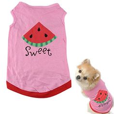 HP95 New Summer Cute Small Pet Dog Puppy Cat Clothes Watermelon Printed Pink Vest (S) Soft, comfortable and breathable, protect your pet from direct sunshine.