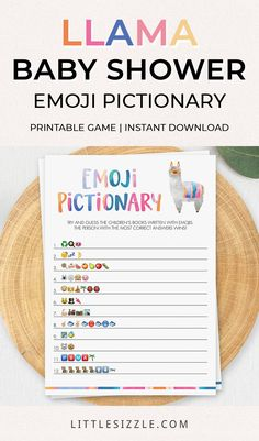 Llama Baby Shower Ideas for Boy or Girl Llama Theme Baby Shower Games Emoji Pictionary Printable by LittleSizzle. Are you looking for a unique game to play at your Llama Baby Shower? Play Emoji Pictionary with this cute llama baby shower game. Answer key included. Download, print and play! #llamababyshowerideas #llamababyshowerdecorations #llamababyshowergames #llamamamathemebabyshower #babyshoweremojigame #funnybabyshowergames #llamamamababyshower #printablebabyshowergames #babyshoweractivities Baby Shower Activities, Baby Shower Printables, Baby Shower Games, Baby Shower Parties, Baby Shower Invitations, Baby Shower Desserts, Baby Shower Decorations