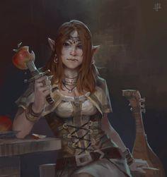 f Wood Elf Bard Lute Leather Dagger tavern urban anebarone: Omnomnom by *KJK-art Female Elf, Bard, Character Portraits, Fantasy Images, Fantasy Rpg, Art, Fantasy Portraits, Dragon Age Rpg, Portrait