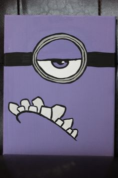 Minions Inspired Canvas Painting 8x10 Purple or by Homemaker123