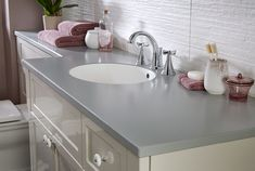 Solid surface bathroom worktops add a luxurious touch to any bathroom Decor, Furniture, Bathroom Worktops, Wash Basin, Bathroom Furniture, Bathroom Furniture Modern, Home Decor, Bathroom, Laminate Worktop
