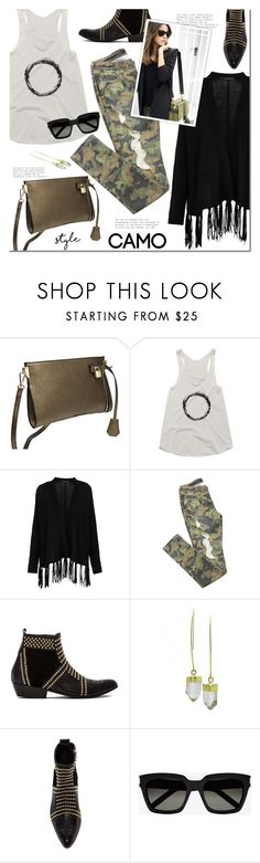 """Go Camo"" by mada-malureanu ❤ liked on Polyvore featuring 360 Sweater, Anine Bing, Yves Saint Laurent, camostyle and thestyledcollection"