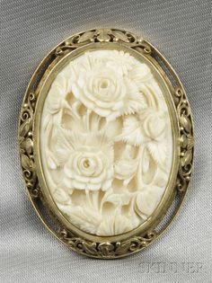 late Victorian 19th century Arts & Crafts Ivory Brooch, roses cameo.