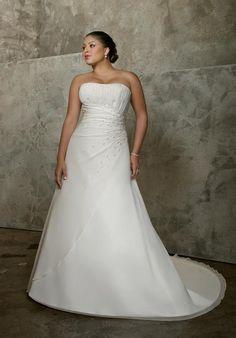 Customizble Empire Beading Organza Satin Chapel Train Wedding Apparels