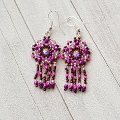 Purple and pink crystal earrings with small by SzkatulkaAmiJewelry Purple, pink, crystal, earrings