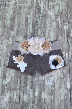 Cut off shorts embellised Boho shabby rose by TrueRebelClothing, $68.00