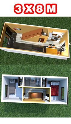 Small House Layout, Small Modern House Plans, Modern Small House Design, Simple House Plans, Tiny House Design, House Layouts, Casa Bunker, 20x40 House Plans, Home Music Rooms