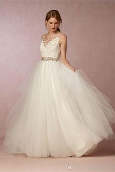 2017 Bhldn Wedding Dresses Sexy Back With Spaghetti Neck And Sweep Train Lace & Tulle Vintage Bridal Gowns Custom Made Wedding Dresses Shops Wedding Dresses Websites From Uniquebridalboutique, $119.6| Dhgate.Com