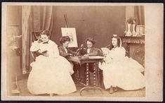 UNUSUAL, FAMILY AT LEISURE/RELAXING, DRAWING ROOM, 1860s CDV, W, MALBY, LONDON. Sitting Poses, Drawing Room, Relax, London, Drawings, Painting, Art, Photograph Album, Drawing Rooms