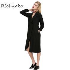 Richkoko 2017 Повседневная Твердые Черный Крест Платье V-образным Вырезом Дикий Длинным Рукавом Midi Платье Прямо Краткие Карманы Платья #women's_dresses #stylish_dresses #cashback #style #fashion