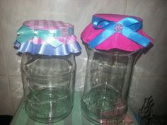 Upcycled Mayo Jars! Jars, Upcycle, Water Bottle, Projects, Blue Prints, Pots, Upcycling, Upcycled Crafts, Jar
