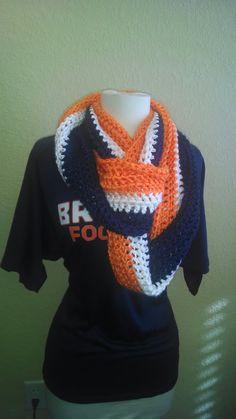 Denver Bronco Orange Blue White Soft Crochet por knitterkkn2766