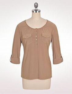 Tab-Sleeve Button-Front Henley | Dressbarn