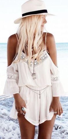 #SpringBreak #Outfits / White Of the Shoulder Small Dress - White Fedora