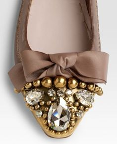 Miu Miu flats with Swarovski Crystals - fancy stones and pearls!  Love!  www.harmanbeads.com