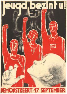 Oproep aan de jeugd te demonstreren tegen het fascisme.