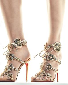 Christian Louboutin - Kaleikita Spiked Lace-Up 100mm Red Sole Sandal, Version Doudou