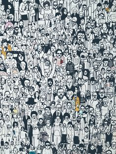 Pictures Of Geoff Mcfetridge: Geoff Mcfetridge Wallpaper, Geoff Mcfetridge Wallpapers - Celina Burtwell: Geoff Mcfetridge 2016 Picture Quality HD (Stunning Geoff Mcfetridge Wallpaper) . Eclectic Wallpaper, Modern Wallpaper, Wallpaper Desktop, Wallpapers, Drawing Wallpaper, Graphic Wallpaper, Crowd Drawing, Doodle Art, Line Drawing