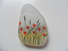 Poppies on the beach - miniature painting on lovely frosted white English sea glass: