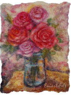 Felt picture Roses.  Felt painting . Felt art   by EniartsFelt, $120.00
