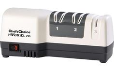 Chef'sChoice compact electric and manual knife sharpener with advanced Hybrid technology allows you to quickly sharpen even the dullest knife and create a razor-sharp, triple-bevel edge. Compatible with all quality straight and serrated knives. Best Electric Knife Sharpener, Best Knife Sharpener, Kitchen Cutlery, Kitchen Knives, Kitchen Gadgets, Best Chefs Knife, Chef's Choice, Knife Sharpening, Chef Knife