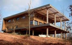 Prefab house / contemporary / cross-laminated timber / two floor BOURGOGNE KLH Massivholz Wood Architecture, Sustainable Architecture, Cabin Design, House Design, Haus Am Hang, Modern Log Cabins, Cliff House, Prefab Homes, Little Houses