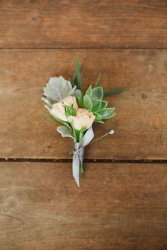 #succulent, #boutonniere Photography: Connie Dai - www.conniedaiphotography.com/ Read More: http://www.stylemepretty.com/2014/08/27/rustic-garden-wedding-in-denver/