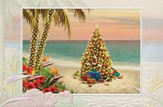 Beach Theme Christmas Cards
