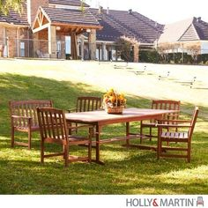 Holly & Martin Richmond 6pc Dining Set by Holly & Martin. $1699.99. Enjoy the comfort, simple good looks and durability of this patio set. Constructed of solid eucalyptus hardwood. Water and weather resistant. Dark brown finish. Includes a rectangular table with a removable leaf, a two-seater bench and four sturdy chairs. Enjoy the comfort - simple good looks - and durability of this patio set. Complete with a rectangular table with a removable leaf, a two-seater bench and...