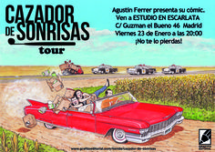 viernes 23 Agustín Ferrer presenta de la mano de Luis Alberto de Cuencasu álbum Cazador de Sonrisas. En la Librería Estudio en Escarlata, a las 20:00 horas. Una charla de cómic y literatura que no os podéis perder.  http://issuu.com/grafitoeditorial/docs/cazador_1-15__72_ppp_/1  http://www.grafitoeditorial.com/cazador-de-sonrisas-madrid-comic-dentista/