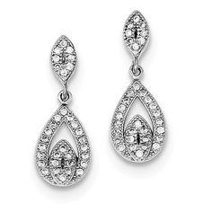 ed06e1de3 925 Sterling Silver Rhodium-plated CZ Pave Pear Dangle Post Earrings