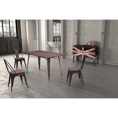 Zuo Titus Rectangular Dining Table Rustic Wood, Green