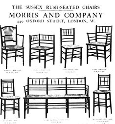 Arts and Crafts: Morris and Company advertisement with many types of chairs offered. Rush seats, spindle backs and legs. Simple, no ornamentation.