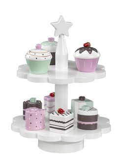 Cupcakes with Cake Stand from the Kids Café range by Kids Concept. This Wooden Toy Cake Stand with 9 Cupcakes is part of a delightful range of children's make