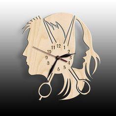 """Uhr Friseur Geschenk Haircutter Beauty Salon, Holz Wanduhr große Zoll, Friseur Salon, Friseur Shop - Beauty-Salon Holz Wanduhr 12 Zoll 30 cm Wall Art Decor """"Beauty-Salon Holz Wanduhr 12 Zoll 30 cm W - Diy Clock, Clock Decor, Wall Art Decor, Wooden Art, Wooden Walls, Wall Wood, Lampe Art Deco, Classic Clocks, Wall Clock Design"""
