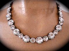 Swarovski Tennis Necklace - handmade, not Sabika - custom length available - rivoli necklace