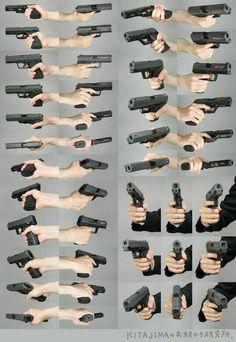 持槍手的各種角度
