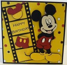Bday Cards, Kids Birthday Cards, Diy Birthday, Disney Scrapbook, Scrapbook Cards, Scrapbooking Ideas, Mickey And Friends, Cards For Friends, Strip Cards