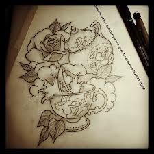 tea tattoos - like the idea of incorporating, hydrangeas, tea cup and teapot.