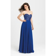 Madison James 16401 Prom Long Dress Long Strapless Sleeveless ($330) ❤ liked on Polyvore featuring dresses, gowns, formal dresses, royal, formal evening dresses, long formal evening dresses, long formal evening gowns, prom gowns and beaded gown