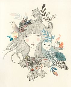 girl owl line drawing illustration indie nature craft art ladydesidia.blogspot.com