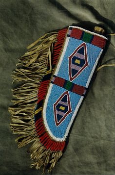 Sinew beaded sheath, old beads, Mark miller, done in the Crow style