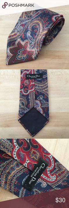 Vintage Christian Dior Men's Tie Vintage, Paisley, 100% printed polyester, made in USA Christian Dior Accessories Scarves & Wraps