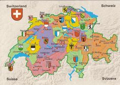 of Swiss cantons / Karte der schweizer Kantons / Carte des cantons suisses. Zermatt, Zurich, Map Of Switzerland, Swiss Miss, Swiss Style, Travel Scrapbook, Alps, Language, Swiss Flag